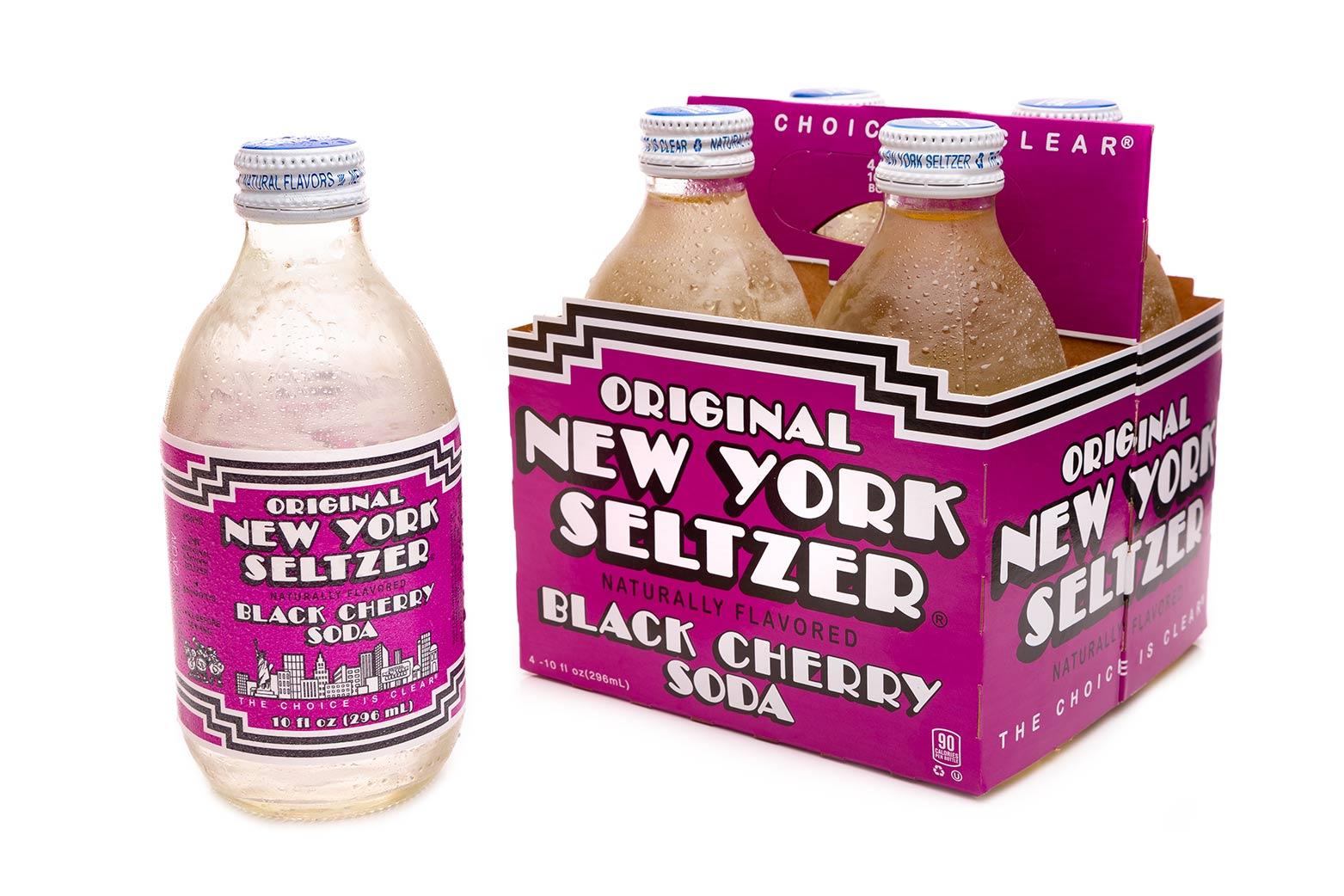 Original New York Seltzer Black Cherry 4-pack carrier with bottle