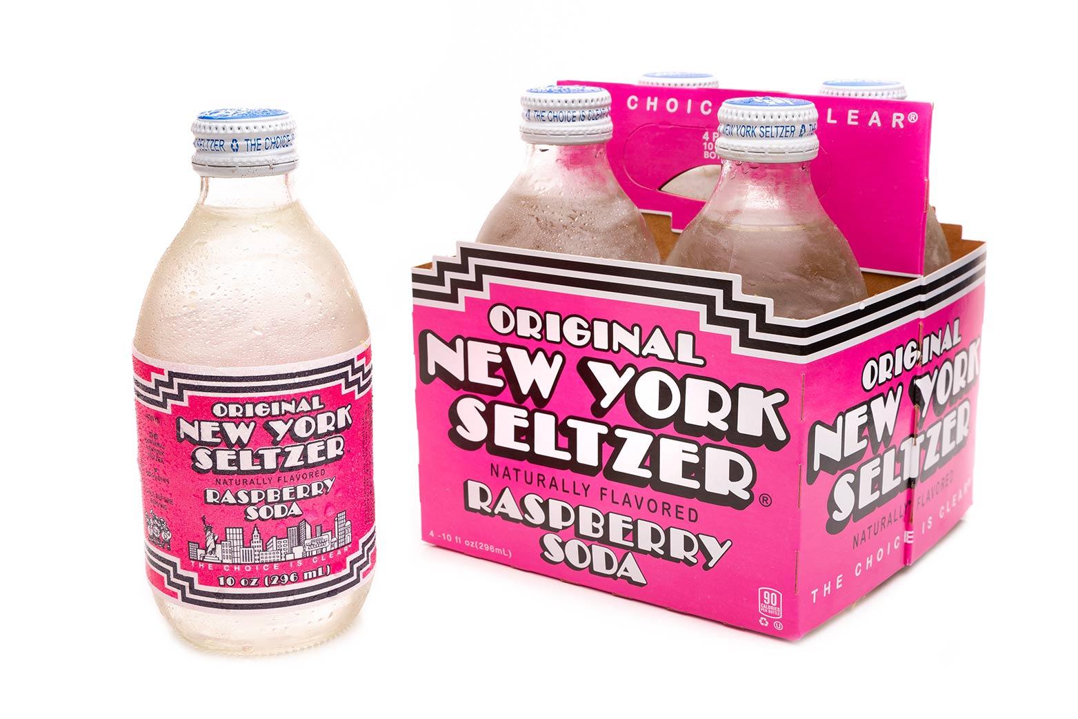 Original New York Seltzer Raspberry 4-pack carrier with bottle