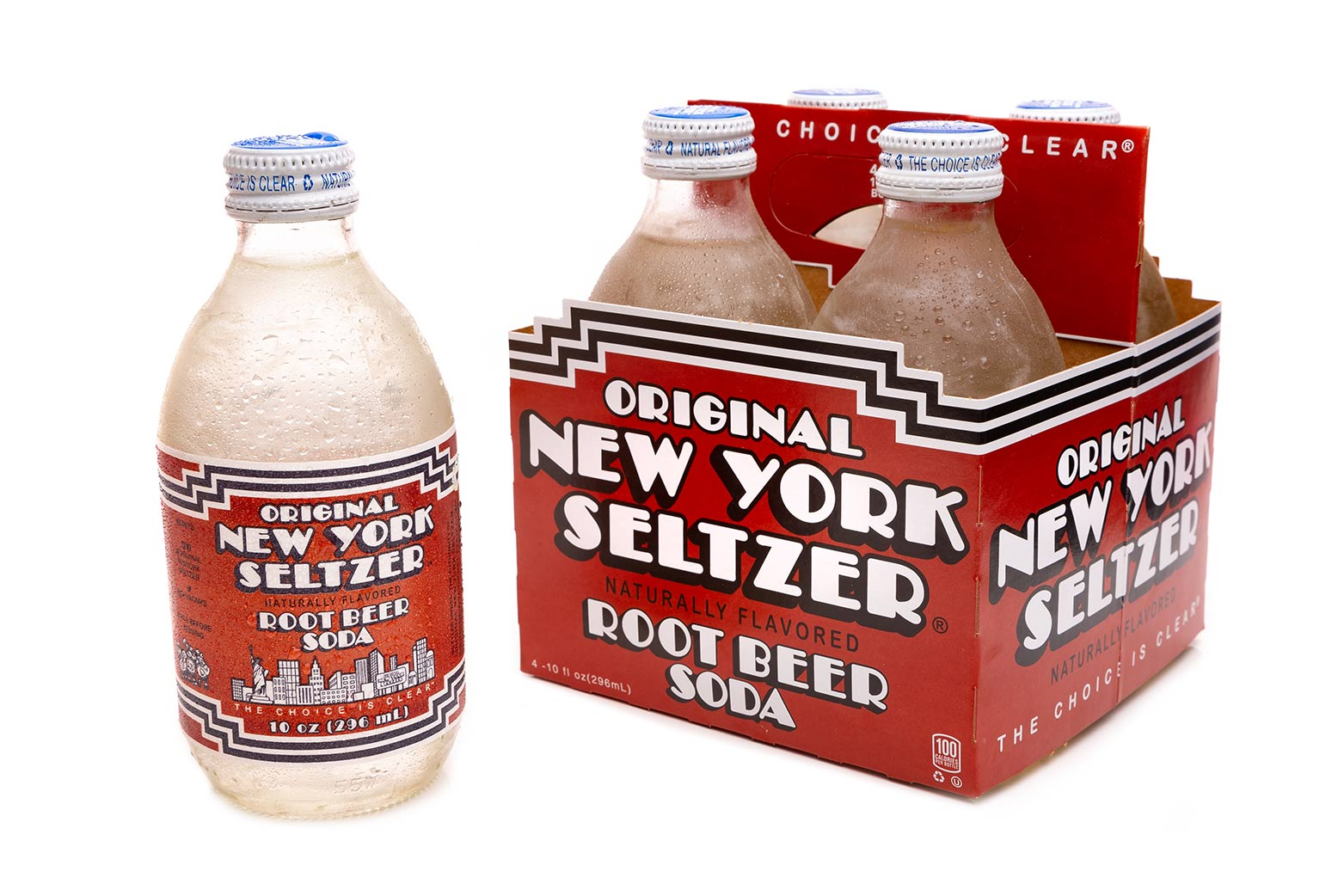 Original New York Seltzer Root Beer 4-pack carrier with bottle