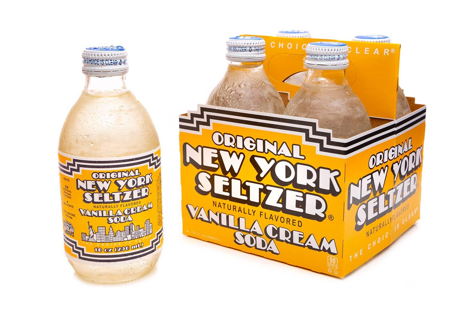 Original New York Seltzer Vanilla Cream 4-pack carrier with bottle